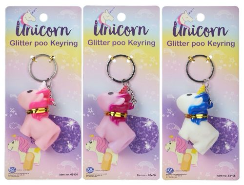 Unicorn Glitter Poo Keyring on display card